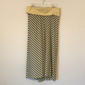 Yellow/gray maxi skirt